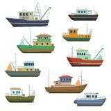 Sea fishing vessels and boats. Sea ships for fishing seafood. vector illustration