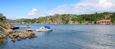 Sea fjord panorama Royalty Free Stock Photography