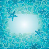 Sea floor card. Decorative blue Sea floor card with sea stones, starfish and seashells vector illustration