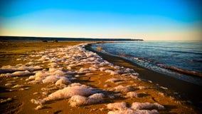 Sea foam at the beach of the Aral Sea near Aktumsuk cape at sunset, Karakalpakstan, Uzbekistan. Sea foam at the beach of the Aral Sea near Aktumsuk cape at royalty free stock image
