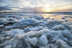Sea foam on the coast of North Sea. In Knokke-Heist, Belgium Royalty Free Stock Photo