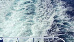 Sea foam from the floating ferry stock footage
