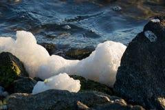 Sea Foam on the rocks at Bolsa Chica Wetlands. In Huntington Beach California close up Stock Photos