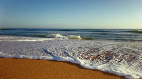 Sea Foam Shore Line on Sand Stock Image