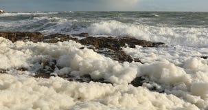 Sea foam in the wind stock footage