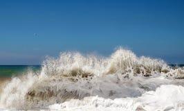 Sea foamy wave. Sea foamy big wave wit blue sky background Stock Image
