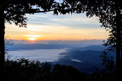 Sea of fog at dawn in the mountains Royalty Free Stock Photography