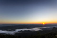 The sea of fog. With forests as foreground Stock Images