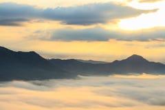 Sea of fog and mountain Stock Photo
