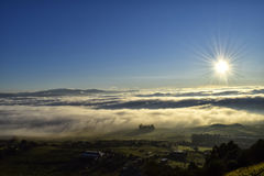 Sea fog. Municipality of Medina Sidonia under a sea of fog Stock Images