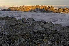 Sea of fog over the Chamonix valley Stock Photography