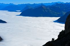 Sea of fog over Lake Lucerne. Lucerne, Schweiz Stock Photography