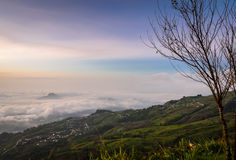 Sea of fog over mountain at sunrise Royalty Free Stock Photos