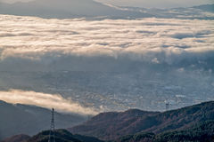 Sea of fog at Takabotchiyama, Okaya, Japan Stock Image