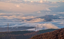Sea of fog at Takabotchiyama, Okaya, Japan Royalty Free Stock Photo