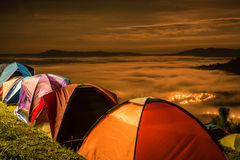 The sea of fog with tent Royalty Free Stock Photos