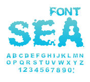 Sea font. Water ABC. Aqua alphabet. Wet Letters. Blue blob.  Royalty Free Stock Photos