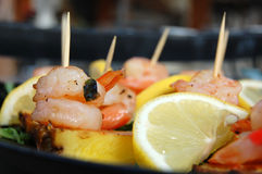 Sea food. Close-up of sea food made of shrimps and lemon Royalty Free Stock Photos
