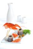 Sea food. Herring fnd lobster Royalty Free Stock Image