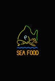 Sea food neon lights  Royalty Free Stock Photography