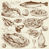 Sea food. Hand drawn collection royalty free illustration