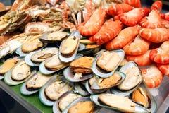 Sea food. Mix sea food cocktail on ice Stock Photo