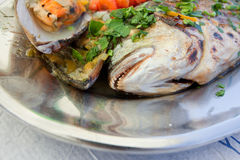 Sea food. Fragment of a plate with sea food Stock Photo
