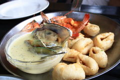 Sea food. A plate of sea food stock images