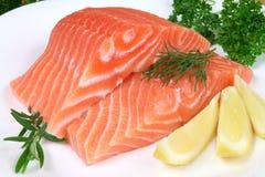 Sea food. Raw raw salmon with rosemary and lemon. Sea food Stock Photos