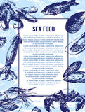 Sea food banner or flyer. Good as a template of advertisement, menu card brochure and invitation. Royalty Free Stock Images