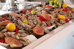 Sea food. Buffet. Various sea food products Stock Photo