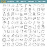 Sea food. Call center service. Banking and finance. Human anatony line icons set. For web and mobile design vector illustration