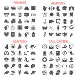 Sea food. Call center service. Banking and finance. Human anatony simple icons set. For web and mobile design royalty free illustration