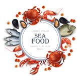 Sea food card Vector realistic. Round frame with crabs, fish, shrimps and caviar. Sea food card Vector realistic. Round frame with crabs, fish, shrimps, mussels Royalty Free Stock Images
