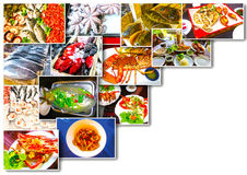 Sea food collage with raw fish and restaurant  dishes Stock Photography