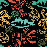Sea Food colorful seamless dark pattern Stock Images