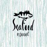 Sea Food design card. With a fish royalty free illustration