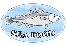 Sea food emblem with a cod fish on light blue wavy background in oval shape, useful as signboard for fish restaurant Stock Photo