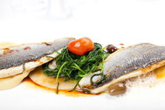 Sea food with fillet of sea bass on white background Royalty Free Stock Image