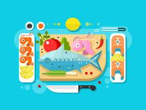 Sea food fish product. Salmon piece, fresh eating, seafood delicacy. Vector illustration Stock Photos