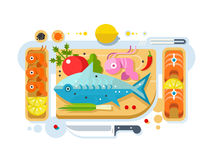 Sea food fish product. Salmon piece, fresh eating, seafood delicacy. Vector illustration Stock Images