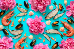 Sea food and flowers background Royalty Free Stock Photo