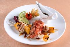 Sea food on gril stock image