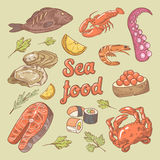 Sea Food Hand Drawn Doodle with Fish, Crab and Oyster. Vector illustration Stock Photos