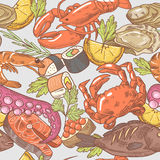 Sea Food Hand Drawn Seamless Pattern. Background with Octopus, Crab and Lobster Royalty Free Stock Image
