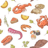 Sea Food Hand Drawn Seamless Pattern. Background with Shrimp, Crab and Fish Royalty Free Stock Photography
