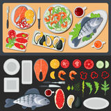 Sea Food. Healthy Food. Prepared Fish. Vegetables and Fish Royalty Free Stock Photo