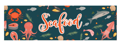 Sea food horizontal banner, flat style. Seafood template for your design. Underwater world, sea life. Vector illustration Stock Images