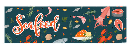 Sea food horizontal banner, flat style. Seafood template for your design. Underwater world, sea life. Vector illustration Stock Image