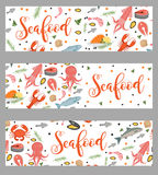 Sea food horizontal banner, flat style. Seafood template for your design.. Underwater world, sea life. Vector illustration Royalty Free Stock Image